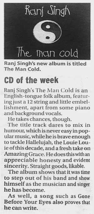 <em>The Man Cold</em> is The Province's <em>CD of the week</em>