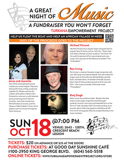 Float the Boat Fundraising Concert, Sunday Oct. 18th @ 7:00pm